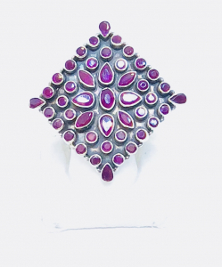 Exclusive Cut Stone Purple Square Ring