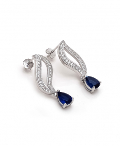 CZ Hanging Earring with Blue Drops