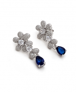 CZ Flower Hanging Earring with Solitaire And Blue Drops