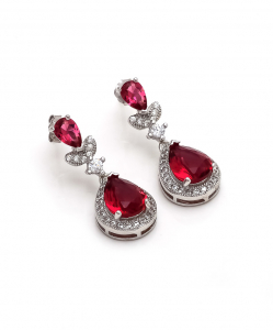 Beautiful CZ Hanging Earring with Red Stones