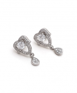 CZ Solitaire Hanging Earring
