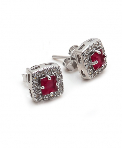 CZ Red Stone Earring