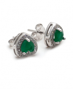 CZ Green Stone Heart Earring
