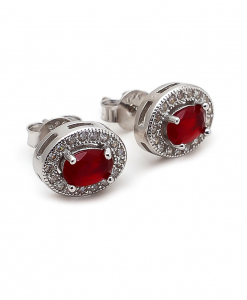 CZ Oval Shaped Red Stone Earring