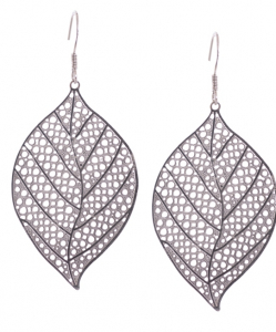 Cubic Zirconia Leaf Hanging Earrings