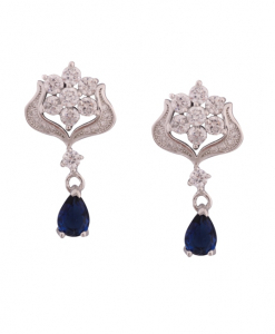 CZ Flower Earring with Blue Drops