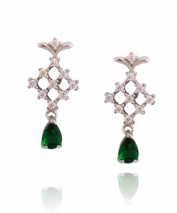 Beautiful CZ Earring with green Droplet