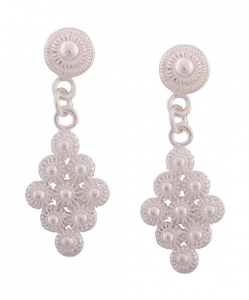 Filigree Hanging Earrings studded with Pearl