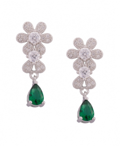 CZ Flower Hanging Earring with Green Drops