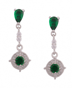 CZ Hanging Earring with Green Stones
