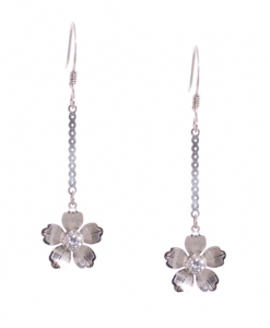 Flower hanging CZ Earrings