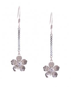 Flower hanging CZ Earrings