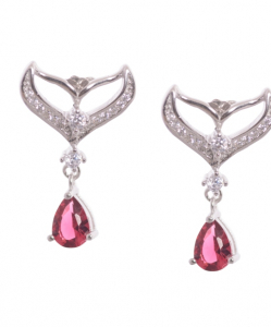 Cubic Zirconia Hanging Earring in Pink