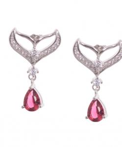 Cubic Zirconia Hanging Earring in Pink