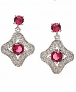 CZ Beautiful Red Hanging Earrings