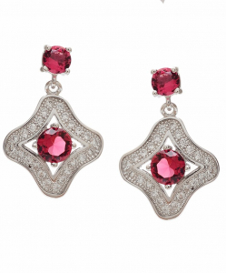 CZ Beautiful Red Hanging Earrings