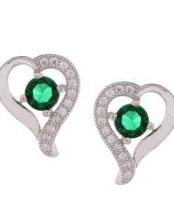 CZ Beautiful Heart Studs with Green Stone