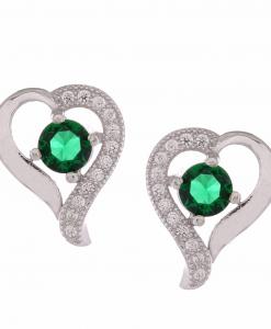 CZ Beautiful Heart Studs with Green Stone
