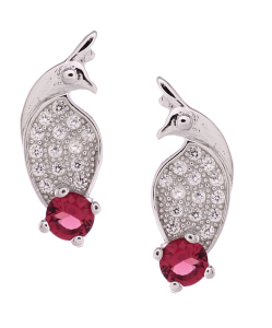 CZ Beautiful Bird Red Stone Studs