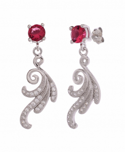 CZ Red Stone Hanging Earring