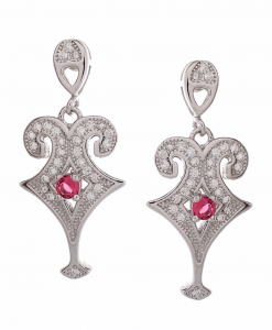 CZ Hanging Earring with Red Stone