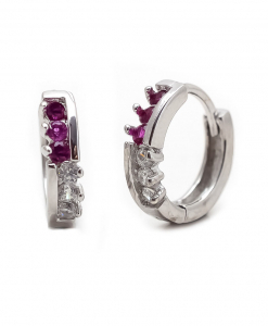 CZ Beautiful Hoops with Purple Stone