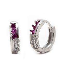 CZ Beautiful Hoops with Purple Stone