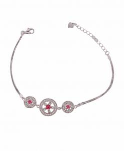 CZ Flower Red Stone Bracelet