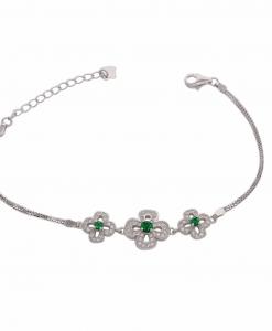 CZ Green Stone Flower Bracelet