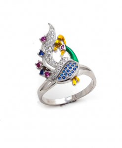 CZ Multicolor Peacock Ring