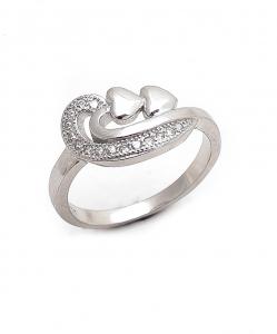 CZ Beautiful Two Heart Ring