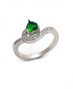 CZ Single Line Green Ring
