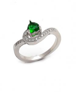 CZ Single Line Green Ring