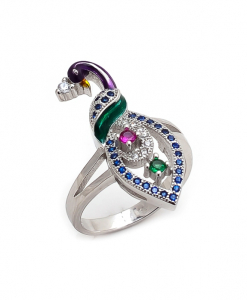CZ Multicolor Peacock Ring