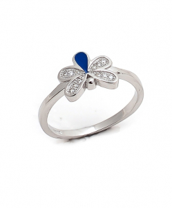 CZ Blue Butterfly Ring