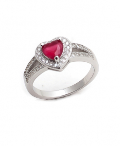 CZ Red Heart Ring