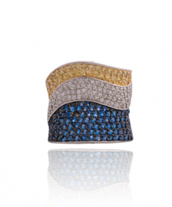 CZ Tricolor Ring – Yellow, White, Blue