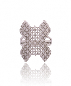 Cubic Zirconia Cross Ring