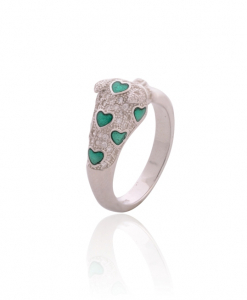 CZ Green Heart Ring