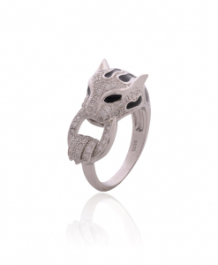 CZ Tiger Ring Black