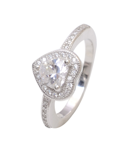 CZ Solitaire Heart Ring