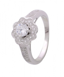 CZ Solitaire Flower Ring