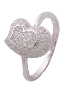 CZ Heart Eangagement Ring