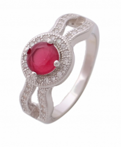 CZ Double Line Red Stone Ring