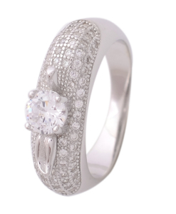 CZ Five Line Solitaire Ring