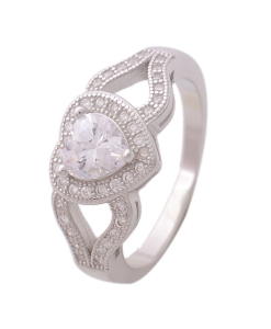 CZ Solitaire in Heart Ring
