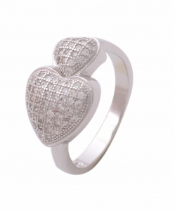 CZ Two Heart Engagement Ring