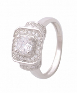 CZ Solitaire Square Ring