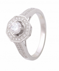 CZ Double Line Solitaire Ring