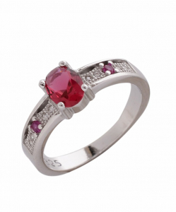 CZ Red Stone Ring